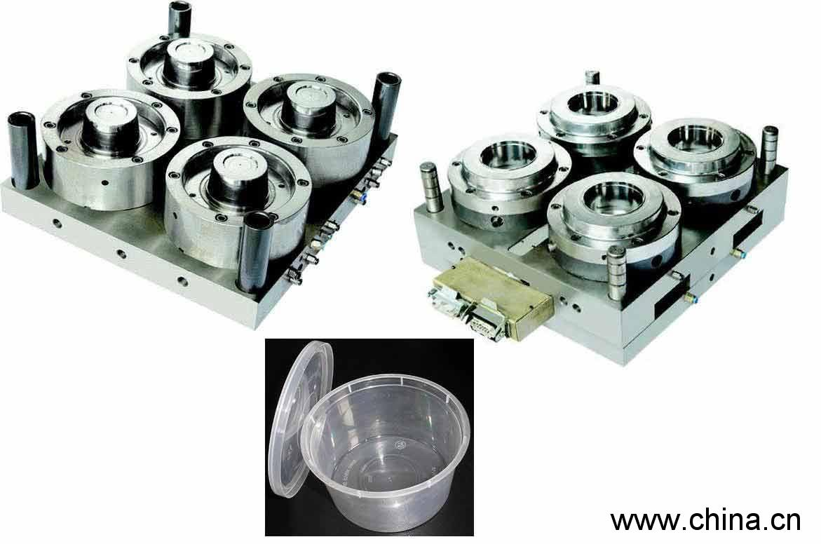 4 cavity thinwall container mould